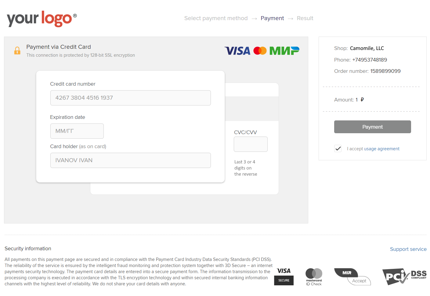 Payment Page Desktop - English